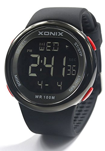 100m Dive Watch (Vogue Men's 100M Waterproof Sports Black Silicone Band Large Digits Digital Dive Watch (Can Be Pressed Underwater) (Black))