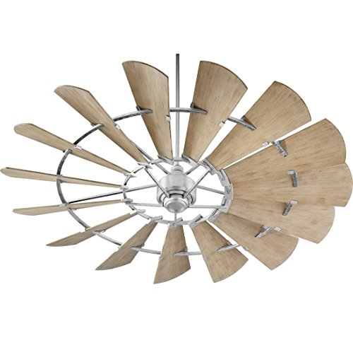 Quorum 197215-9 Windmill Ceiling Fan in Galvanized with UL Damp Weathered Oak Aluminum Blades For Sale