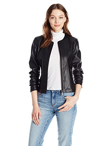 A|X Armani Exchange Women's Zip Detail Crew Neck Eco-Leather Jacket, Black, Small by A|X Armani Exchange