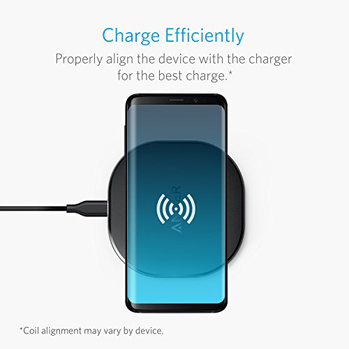 Large Product Image of Anker 10W Wireless Charger, Qi-Certified Wireless Charging Pad, PowerPort Wireless 10 for iPhone 8/8 Plus, iPhone X, Samsung Galaxy S9/S9+ and More, Provides Fast-Charging for Galaxy S8/S8+/S7