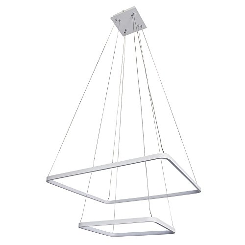 Deluxe Lamp Modern Square Two-Tier LED Integrated Chandelier Lighting with Adjustable Hanging Light, Silver, Dining Room, Island, Kitchen (Lamp 2 Tier)