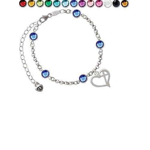 Heart Outline with diagonal Cross Custom Crystal Color Fiona Charm Bracelet