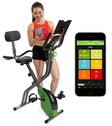 ShareVgo Bluetooth Smart Folding Semi Recumbent Magnetic Upright Exercise Bike with Free APP for Indoor Bike Workout Log and Track, Backrest, Pulse Sensors and Tablet Holder – SXB1000