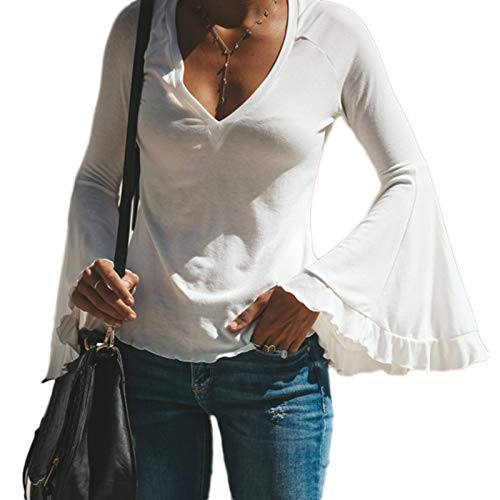 40d4c282869ee SODIAL Women s Long Sleeve Skinny Slim Deep V Neck Solid Bell Sleeve  Vintage Plus Size T