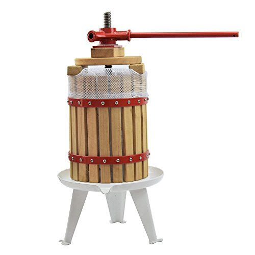 EJWOX 1.6 Gallon Solid Wood Basket Fruit and Wine Manual Press