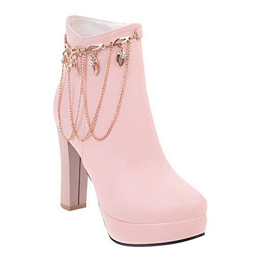 Mee Shoes Damen High Heels Plateau Strass Stiefel Pink