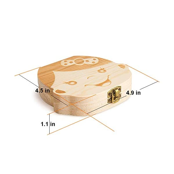 Caja para guardar dientes para niños y niñas, Regalo para niños en madera de souvenir, Acumulación de dientes (Niña) 5