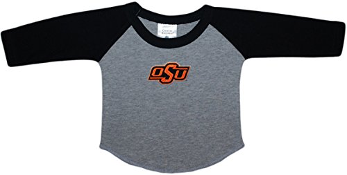 Oklahoma State University OSU Cowboys Baby and Toddler 2-Tone Raglan Baseball Shirt Black