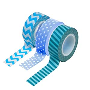 Dress My Cupcake DMC29205 Washi Decorative Tape for Gifts and Favors, Blue Collection, Set of 3
