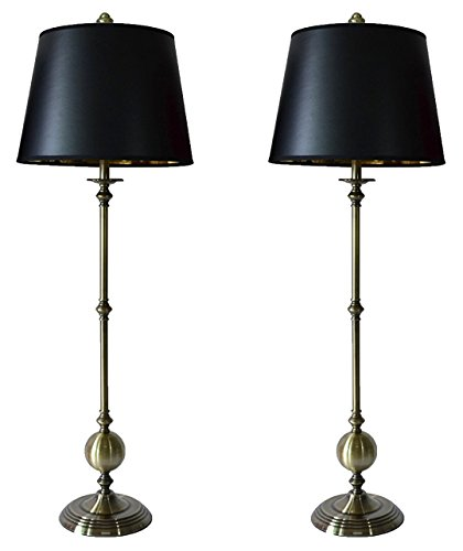 Urbanest Set of 2 Bastille Buffet Lamps in Antique Brass with Black with Gold Foil Liner - Brass Lamp Antique Table Candlestick