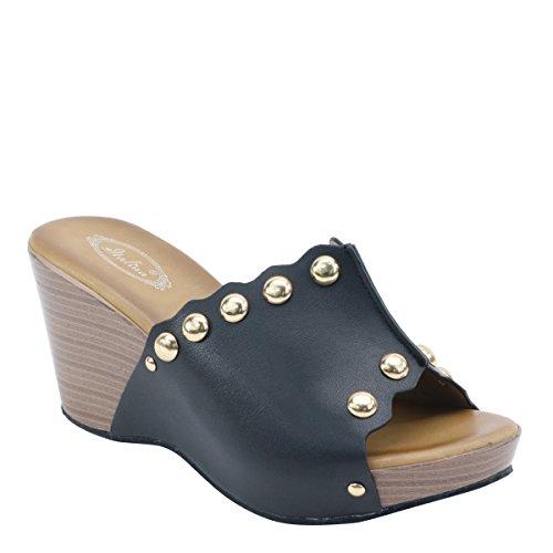 New Brieten Womens Peep Toe Platform Wedge Sandals Black 2PTDB