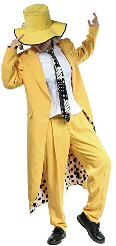 xcoser Halloween Fancy Dress Men's Yellow Tailcoat Tuxedo Tail Suit with Hat L]()