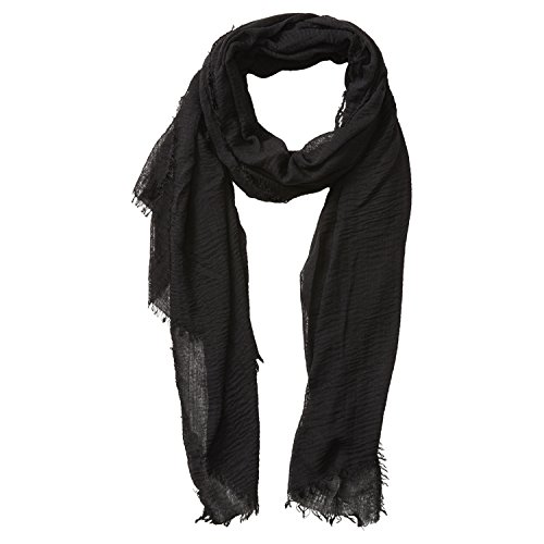 """Tickled Pink Classic Soft Solid Stylish Long Lightweight Pashmina-Like Cotton Blend Scarf 38 x 70"""" - Black"""