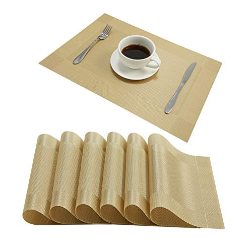 DOLOPL Placemats PVC Gold Heat Resistant Placemat Washable Non-Slip Table Mats Set of 6 for Dining Kitchen Restaurant Table