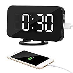Kidshome 2 In 1 Creative LED Digital Alarm Clock with USB Ports Mirror Surface Brightness Adjustable Table Clock Suitable for Home Office Hotel Room Decorate (Black) (White Display)