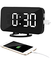 Kidsidol 2 In 1 Creative LED Digital Alarm Clock Dimmer Design Mirror Function Smart Power Bank Brightness Adjustable for Home Office Hotel With 2 USB Charge Port and 1Power Cord Port