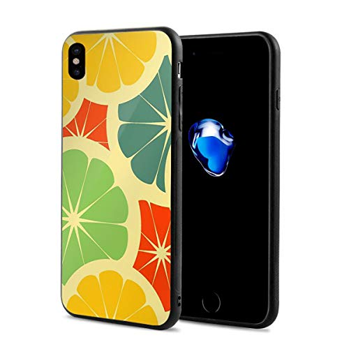 Creative iPhone Xs Case Black Rubber Protective Case Cover Colorful Lemon Art Illustration for iPhone X iPhone Xs 5.8 Inch Originality -