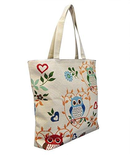 Borsetta borsa da spiaggia, shopping, importata da Tailandia, multicolore, motivi Gufi (42283)