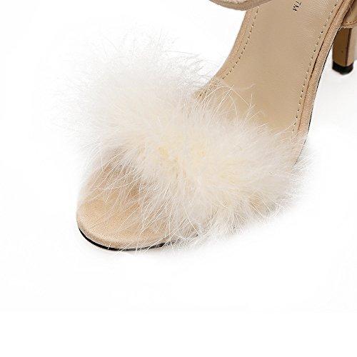ZHZNVX tirante fashion alti donna toe nuove con primavera scarpe con sandali asolato da tacchi decorate bene Le i in rugiada scarpe la black feather con rTzxgrq