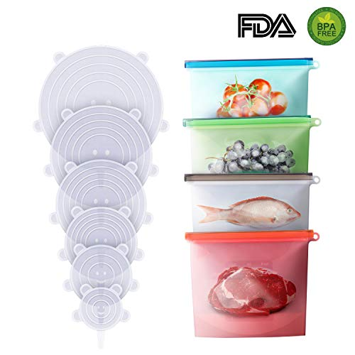 Reusable Silicone Food Storage Bag Set, Food Grade Vegetable Storage Bag with 4 Storage Bags and 6 Silicone Stretch Lids, Airtight Zip Seal Bags Keep Your Food Fresh, Hygienic and Leakproof Storage.
