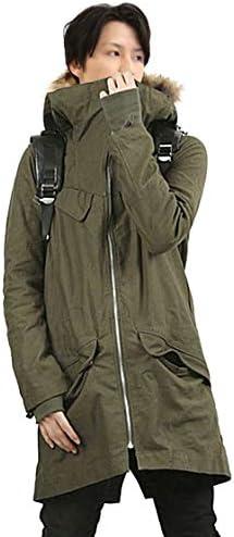 メンズ 裏ボア ファー付き コート ロングコート ミリタリー ブラック グリーン カーキ 黒 緑 2020