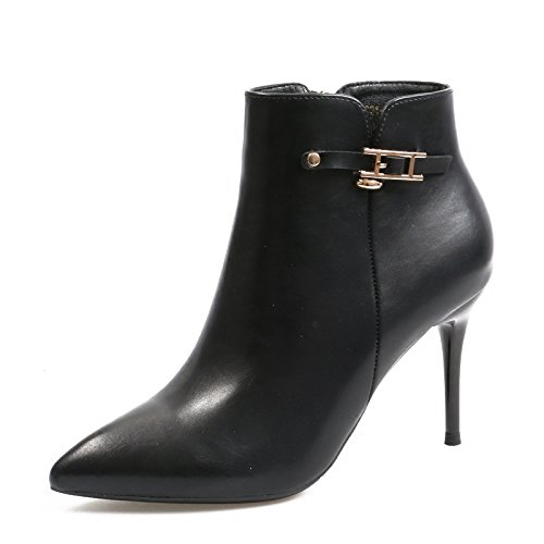 Pointed And Heeled Fine Match All KHSKX Belt Boots Boots Bare Black Boots Shoes Cotton Martin With Sexy Boots Winter Buckle High pZAqwF1
