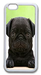 Unique iPhone 6 Cases, ACESR Black Pug Back Cover Case for Apple iPhone 6(4.7inch) TPU White by runtopwell