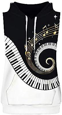 Hombre camiseta sin manga,Sonnena ❤ Chaleco de moda para hombres Melodía de piano en 3D Print Sudadera con capucha sin mangas Top Vest Tank