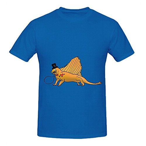 Dino Bros Lizard Men O Neck Casual T Shirts Blue