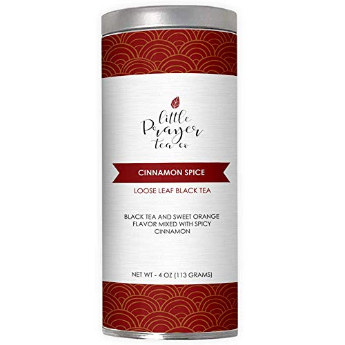 Cinnamon Spice Tea By Little Prayer Tea Co - Sweet Cinnamon Spice Tea - Market Spice Tea - Orange Spice Tea - Naturally Sweet, Deliciously Spicy - 4 oz Of Loose Leaf Tea In Resealable Tin