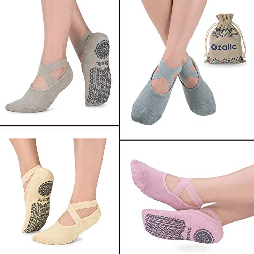 Non Slip Grip Socks for Yoga Pilates Barre Ballet Dance Fitness, Anti Skid Hospital Delivery Socks with Grips for Women