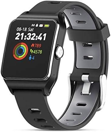 HolyHigh Smartwatch Fitness Tracker Sport Uhr Smart Watch mit IP68 Wasserdicht GPS Herzfrequenz Ermüden Monitor Schrittzähler Touchscreen für Kinder Damen Herren iOS Android