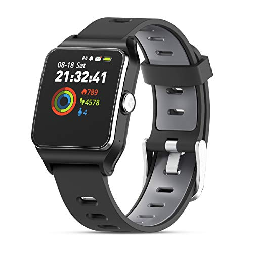 HolyHigh Smartwatch Fitness Tracker Sport Uhr Smart Watch mit IP68 Wasserdicht GPS Herzfrequenz Ermüden Monitor Schrittzähler Touchscreen für Kinder Damen Herren iOS Android