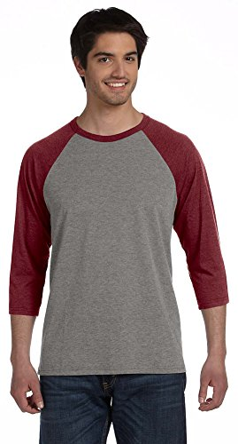 Bella + Canvas Unisex 3/4-Sleeve Baseball T-Shirt, Large, GRY/MAROON TRBLN (Bella T-shirt Baseball)