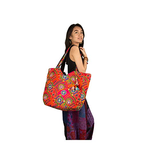 Tribe Azure Colorful Floral Boho Large Shoulder Bag Tote Women Handbag Purse Fashion Casual Spacious Unique Tassel Flower Market School Beach Summer Books Travel (Red) - Floral Embroidered Tote