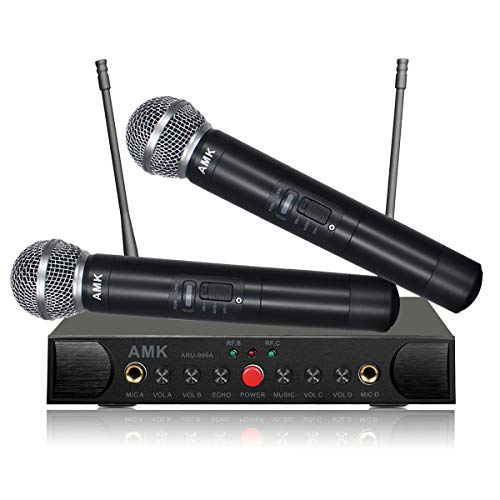 Wireless Microphone System with Echo, AMK UHF Dual Wireless Mics Receiver with 1/4'' Input Jacks for Two More Wired Mics, All Metal, Easy Setup, Echo Control, for Karaoke/Public Address (ARU-999A)