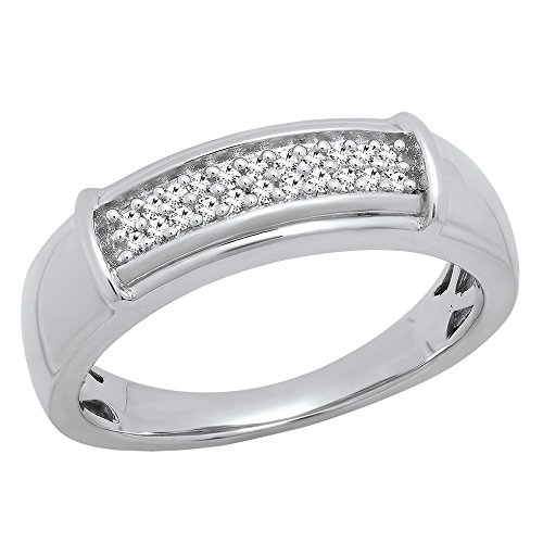 Dazzlingrock Collection 0.20 Carat (ctw) Sterling Silver Round White Diamond Men's Hip Hop Wedding Band 1/5 CT (Size 10) by Dazzlingrock Collection