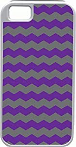 iPhone 5 Case iPhone 5S Case Cases Customized Gifts Cover Zigzag Wave Design Purple and Grey - Ideal Gift