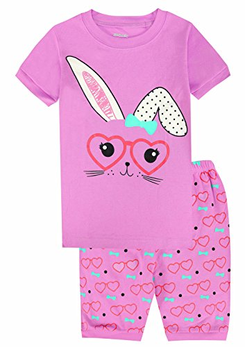 Kids Pajamas Hop Girls Short Pajamas Rabbit Cotton 2 Piece Pjs Children Summer Sleepwear (Purple,6T)