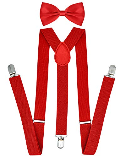 Red Suspenders and Bow Tie for Men and Women Y-Shaped Heavy Duty Back Suspenders & Bowtie Set]()