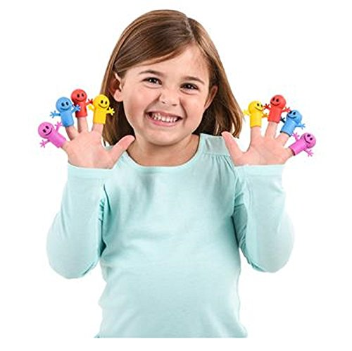 Smile Finger Puppets, Assorted Colors. 48 Pieces.