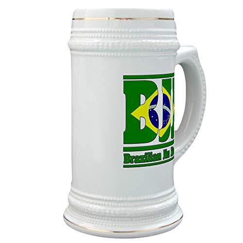 CafePress BJJ Brazilian Jiu Jitsu Beer Stein, 22 oz. Ceramic Beer Mug with Gold Trim