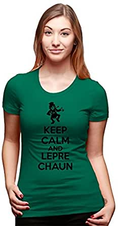Womens Keep Calm And Leprechaun T Shirt Funny St Patricks Day Shirt (Green) S