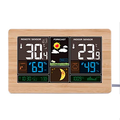 ional Weather Clock Temperature and Humidity Meter LED Screen Alarm Clock USB Charging Clock (Color : Wood Color) (Ge Range Electronic Clock)