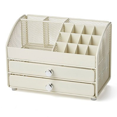 2-Drawer and 14 Compartments Powder Coated Steel Table Top Mesh Cosmetic, Office, School Supply Organizer in Cream
