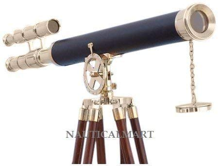 (SHIVSHAKTI TRADERS Nautical Floor Standing Brass/Leather Griffith Telescope)