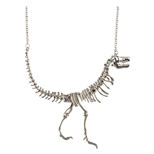 Jane Stone Color Silver Dinosaur Vintage Necklace Short Statement (Fn1415-Silver) (Unique Necklaces)