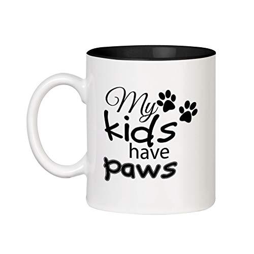 Have Paws Mugs - Black My Kids Have Paws Cursive Ceramic Inner Color Cup Coffee Mug - Black