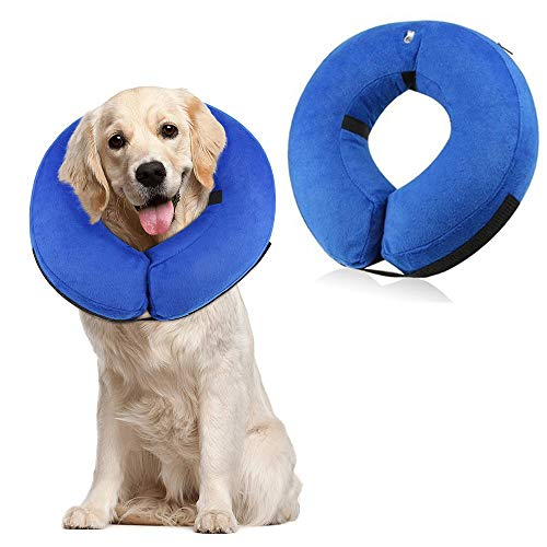 (Langxian Soft Protective Inflatable Pet Collar, Dog Recovery Collar for Surgery Adjustable Comfortable Pet E-Collar for Dogs, Designed to Prevent Pets From Touching Stitches (Large) )