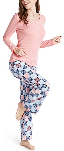 (Ink+Ivy Pajamas for Women, Fleece & Cotton Woman Pajama Set - Long Sleeve Rib Henley Top & Flannel Pants Peach M)